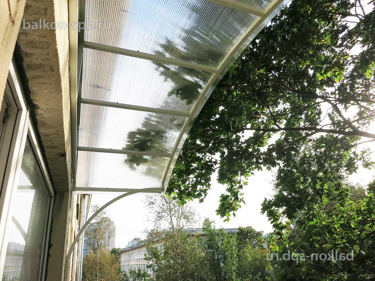 Козырек над балконом из поликарбоната - арочная крыша на бал.