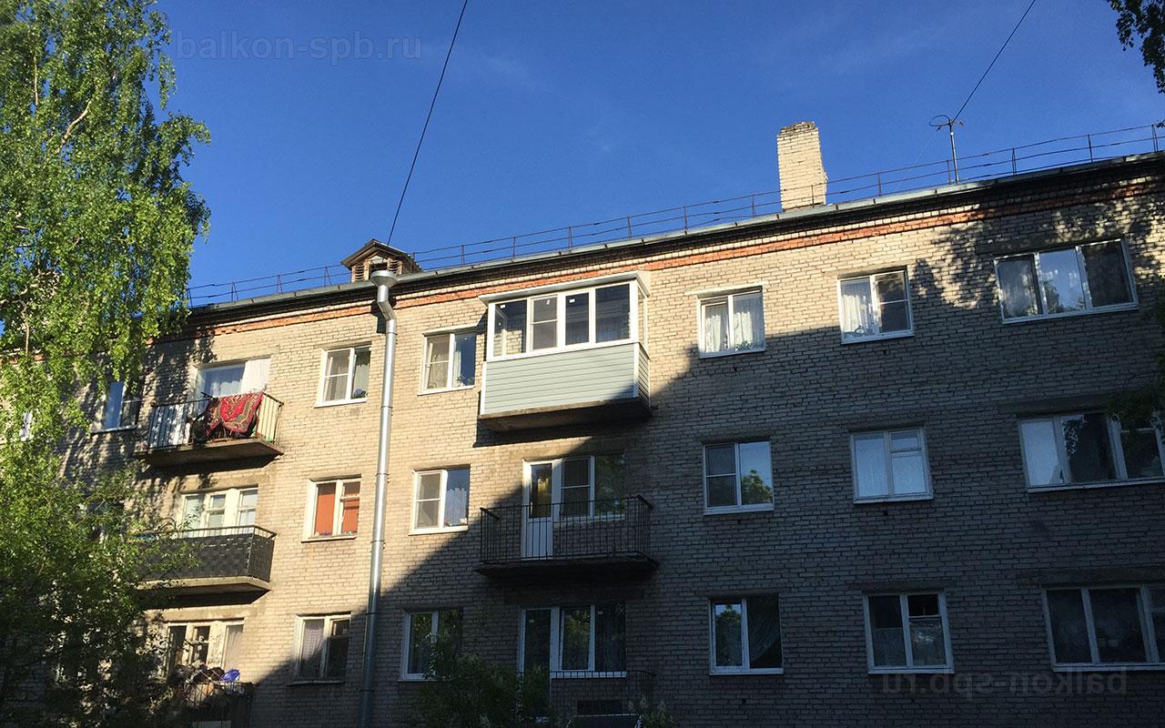 остекление балкона с крышей на последем этаже в хрущевке